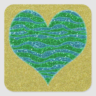 Corazón verde del brillo en fondo del brillo del pegatina cuadrada