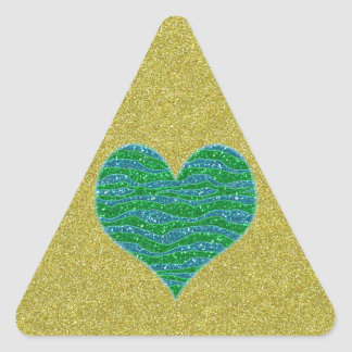 Corazón verde del brillo en fondo del brillo del pegatina triangular