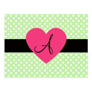 Corazón verde del rosa del monograma de los postal