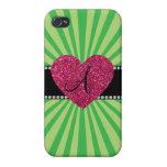 Corazón verde del rosa del resplandor solar del mo iPhone 4 protectores