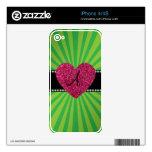 Corazón verde del rosa del resplandor solar del mo iPhone 4S calcomanías