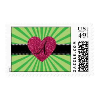 Corazón verde del rosa del resplandor solar del sellos