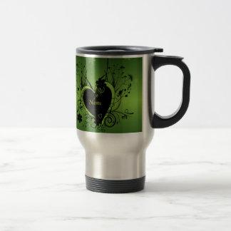 Corazón verde negro taza de viaje de acero inoxidable