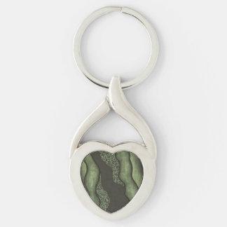 Corazón verde oscuro del diseño de la tinta llavero plateado en forma de corazón