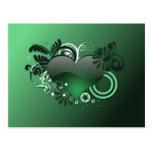 corazón verde postal