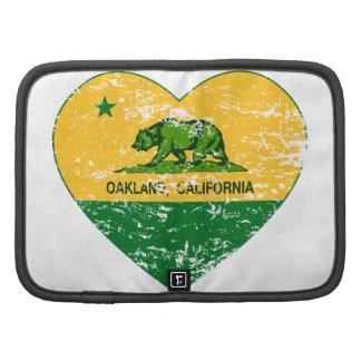 corazón verde y amarillo de Oakland de la bandera  Organizador