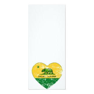 """corazón verde y amarillo de Oakland de la bandera Invitación 4"""" X 9.25"""""""