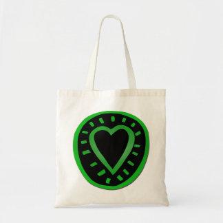 Corazón verde y negro -1 - bolso bolsa tela barata