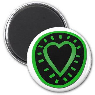 Corazón verde y negro -1- imán redondo 5 cm
