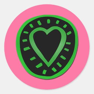 Corazón verde y negro -3- del el día de San Pegatina Redonda
