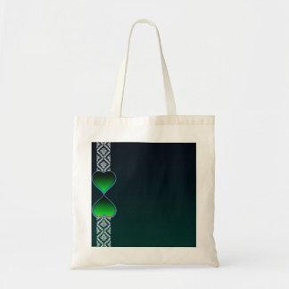 Corazón verdoso lindo y damasco blanco puro bolsas lienzo