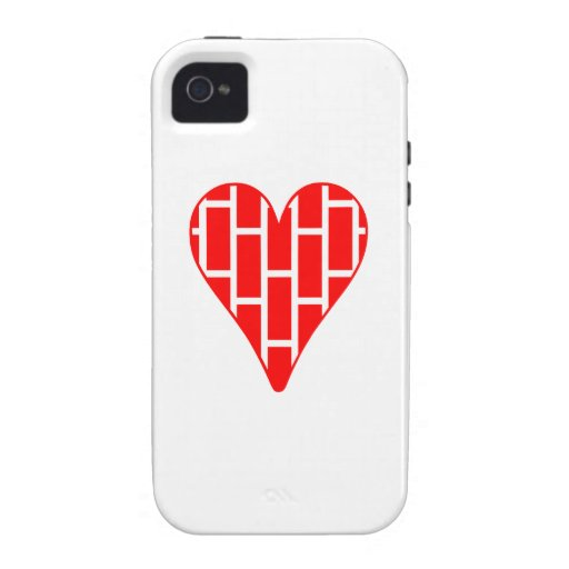 Corazón vertical rojo de los ladrillos iPhone 4 funda