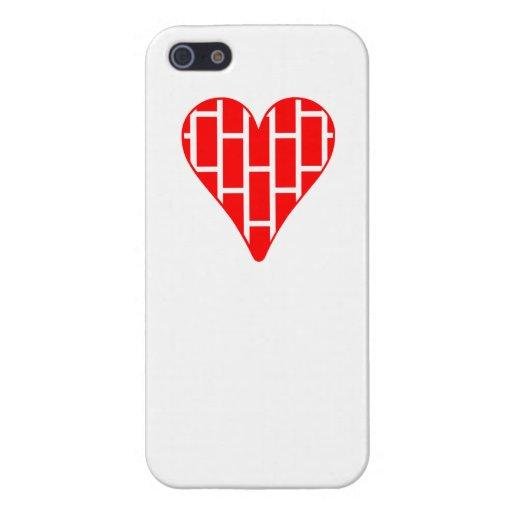 Corazón vertical rojo de los ladrillos iPhone 5 cobertura