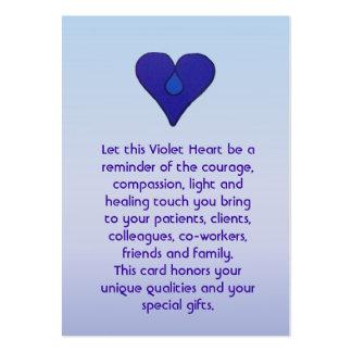 Corazón violeta - tarjeta de los cuidadores tarjetas de visita