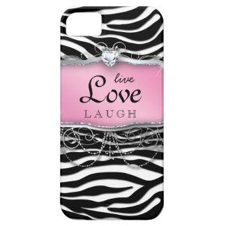 Corazón vivo del rosa de la cebra de la cubierta iPhone 5 carcasa