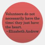 Corazón voluntario pegatina redonda