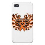 Corazón Wings.png de la conciencia de la esclerosi iPhone 4 Protectores