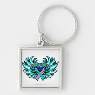Corazón Wings.png de la conciencia del cáncer de Llavero Cuadrado Plateado