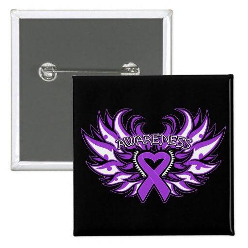 Corazón Wings.png de la conciencia del Fibromyalgi Pin Cuadrado