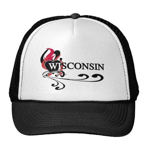 Corazón Wisconsin del fuego Gorros