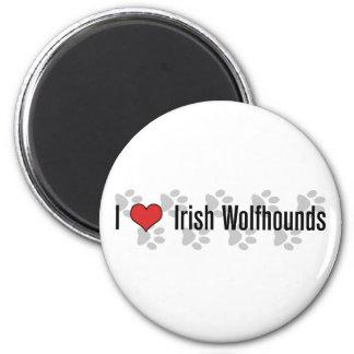 (Corazón) Wolfhounds irlandeses I Imán Redondo 5 Cm
