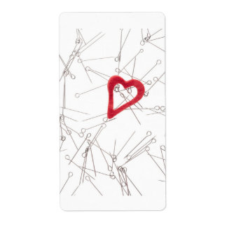 Corazón y agujas etiqueta de envío