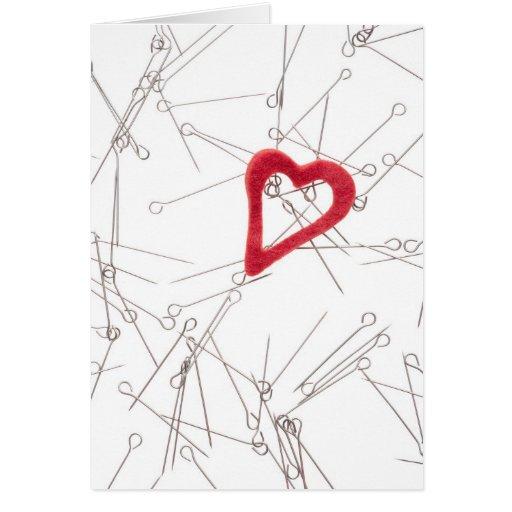 Corazón y agujas tarjeta de felicitación
