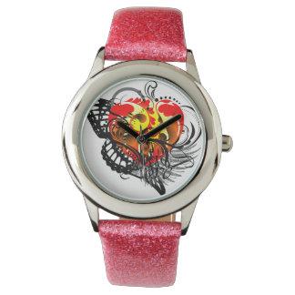 Corazón y ala reloj de mano