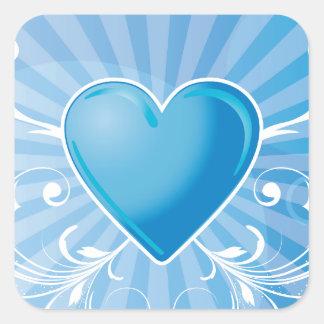 Corazón y alas azules pegatina cuadrada