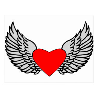 Corazón y alas tarjeta postal