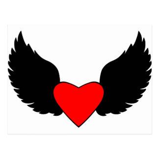 Corazón y alas postales