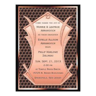 Corazón y alma - cobre invitación del boda