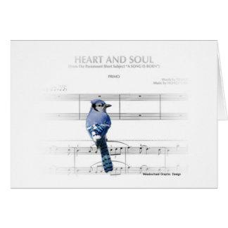 Corazón y alma - tarjeta de nota del arrendajo azu