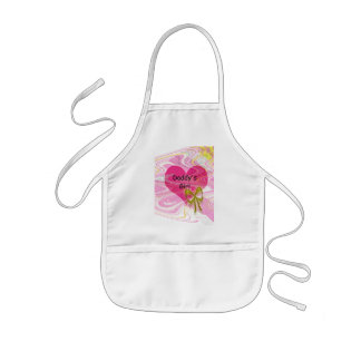 Corazón y arco abstractos rosados delantales