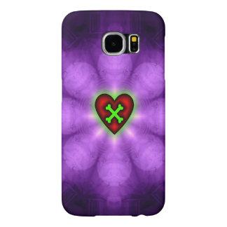 Corazón y bandera pirata en púrpura fundas samsung galaxy s6