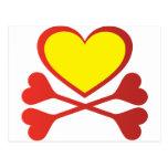 Corazón y bandera pirata postal