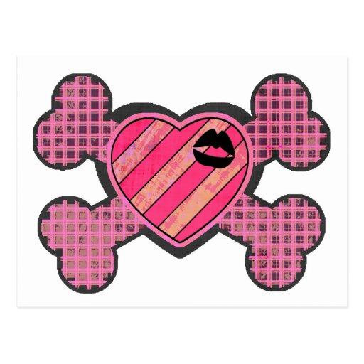 Corazón y bandera pirata punkyes tarjeta postal