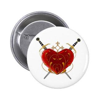 Corazón y botón de las dagas pin redondo de 2 pulgadas