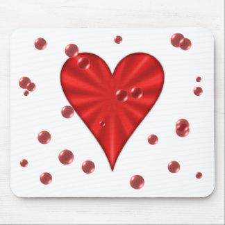 Corazón y burbujas (blancos) alfombrilla de ratón