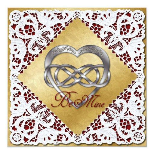 """Corazón y cordón dobles 2 de la plata del infinito invitación 5.25"""" x 5.25"""""""