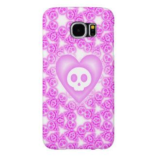 Corazón y cráneo rosados revestidos del caramelo fundas samsung galaxy s6