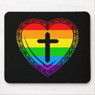 Corazón y cruz góticos (negro + Arco iris) Alfombrilla De Ratones