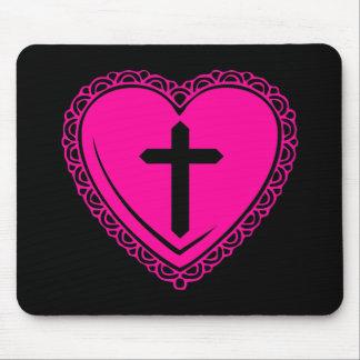 Corazón y cruz góticos (negro + Rosa) Tapete De Raton