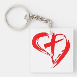 Corazón y cruz rojos bosquejados llavero cuadrado acrílico a una cara
