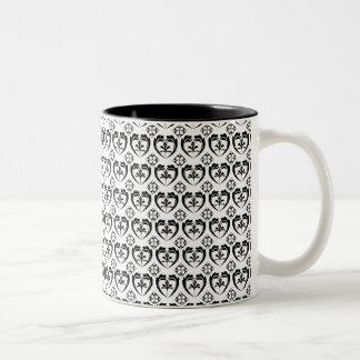 Corazón y diamantes taza de café