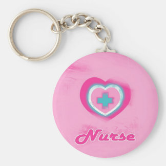 Corazón y enfermera rosados de la Cruz Llaveros Personalizados