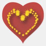 Corazón y estrellas calcomania de corazon