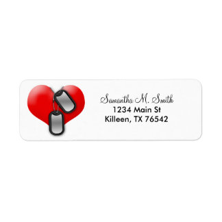 Corazón y etiquetas militares del remite de las pl etiqueta de remite