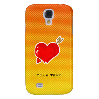 Corazón y flecha amarillo-naranja del Cupid Funda Para Galaxy S4