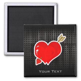 Corazón y flecha del Cupid; Rugoso Imán Cuadrado